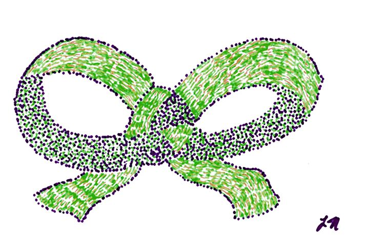 Green, Purple, Brown Ribbon With Bow - Laura Nybeck's Art