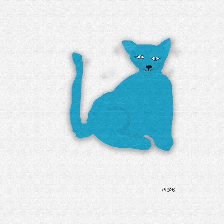 Blue Cat on a White Background - Laura Nybeck's Art