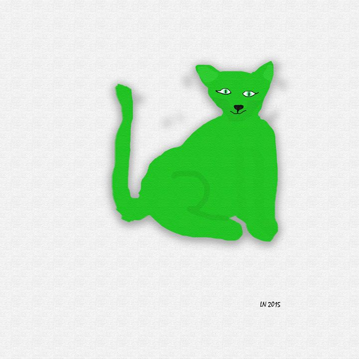 Neon Green Cat on a White Background - Laura Nybeck's Art