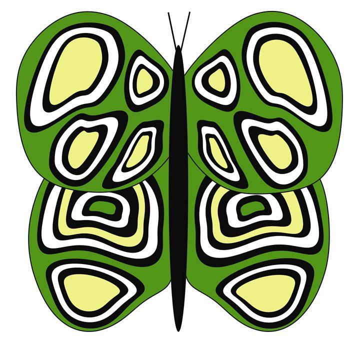 Green, Yellow and White Butterfly - Laura Nybeck's Art