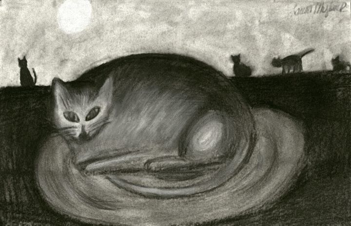 Charcoal Stray Cats and the moon - Laura Nybeck's Art