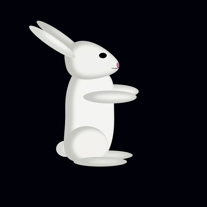 Large White Rabbit on Black - Laura Nybeck's Art