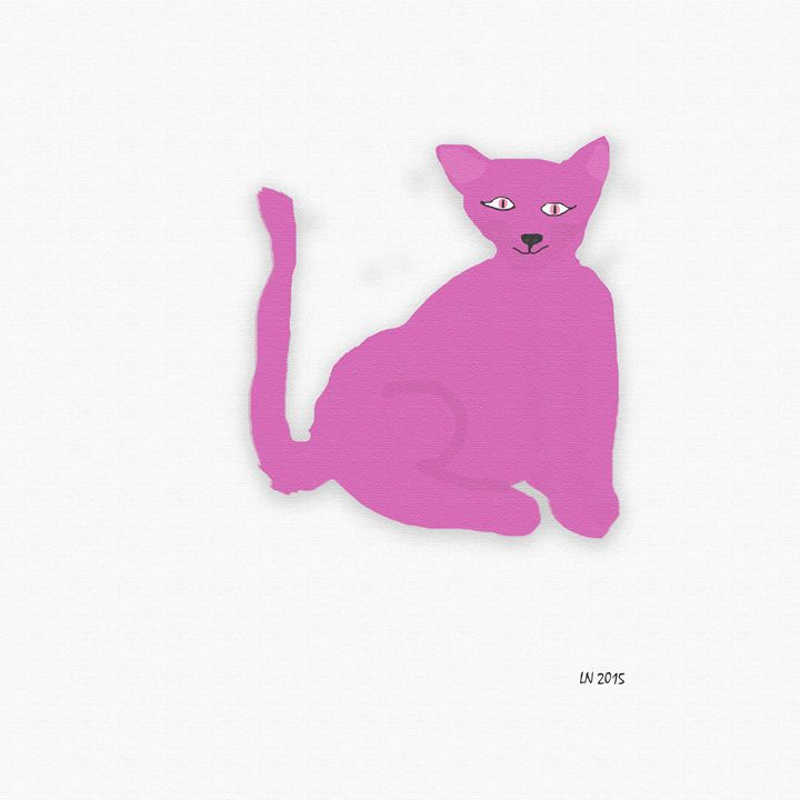 Pink Cat on a White Background - Laura Nybeck's Art