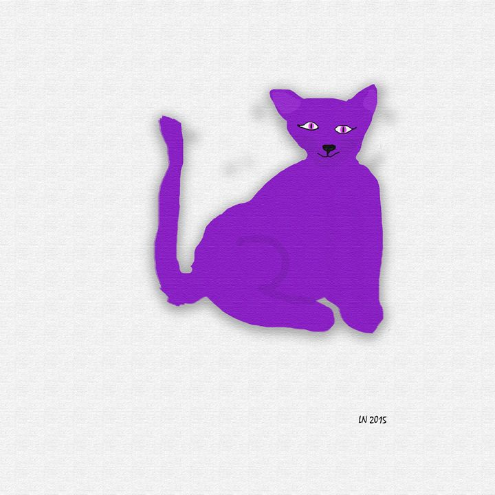 Neon Purple Cat on a White Backgroun - Laura Nybeck's Art