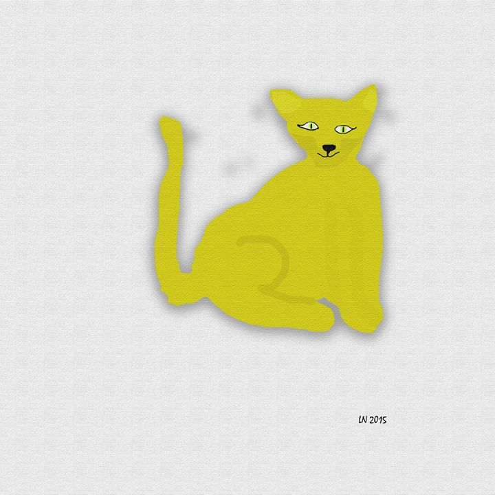 Yellow Cat on a White Background - Laura Nybeck's Art
