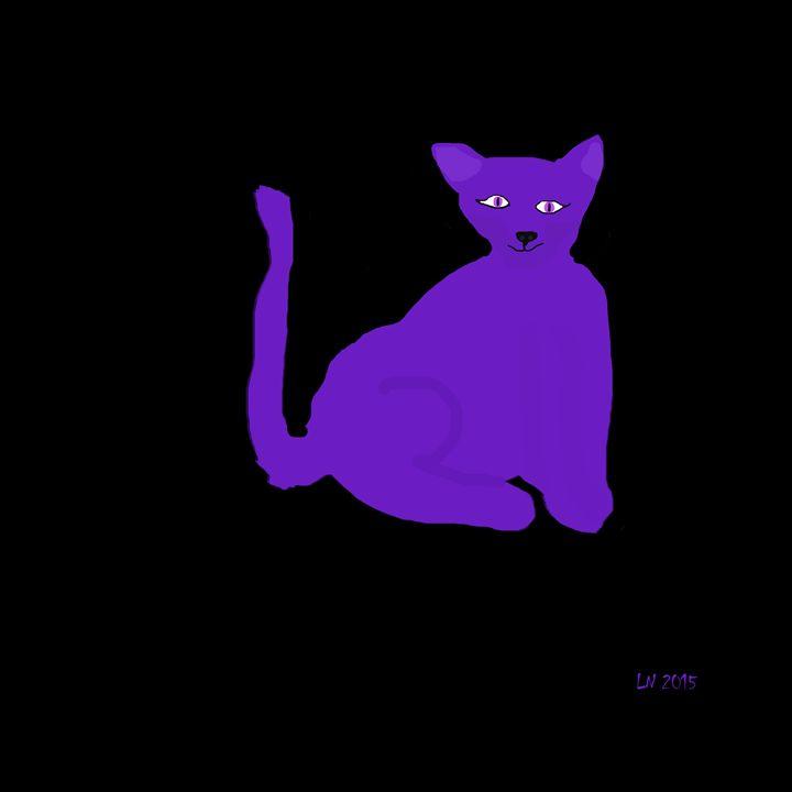 Purple Neon Cat on Black - Laura Nybeck's Art