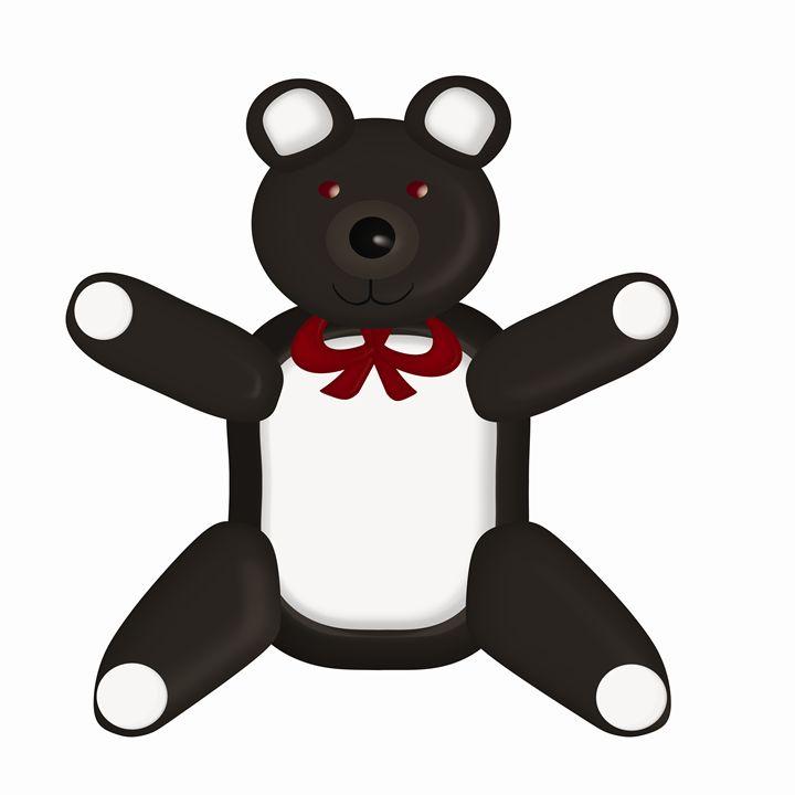 Large Black Teddy Bear - Laura Nybeck's Art