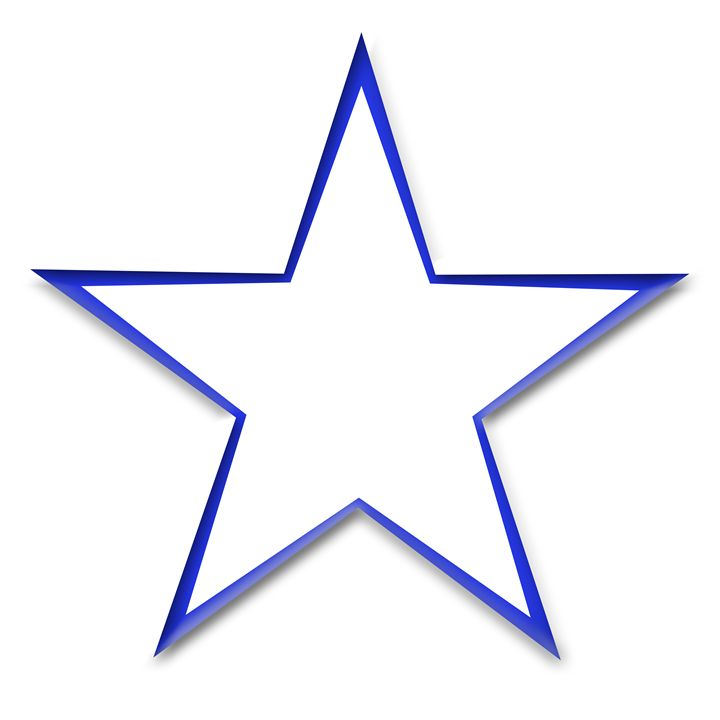 Large Blue Outline Star on White - Laura Nybeck's Art