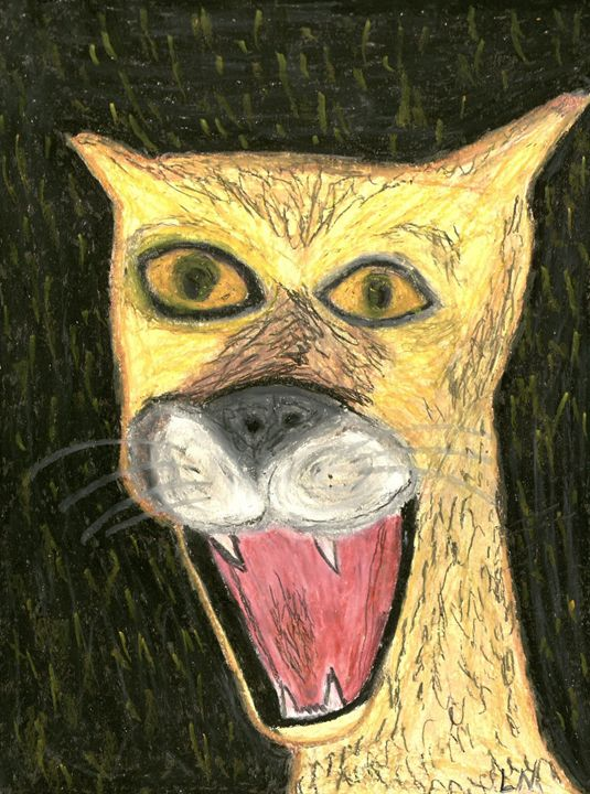Happy Cougar Face - Laura Nybeck's Art