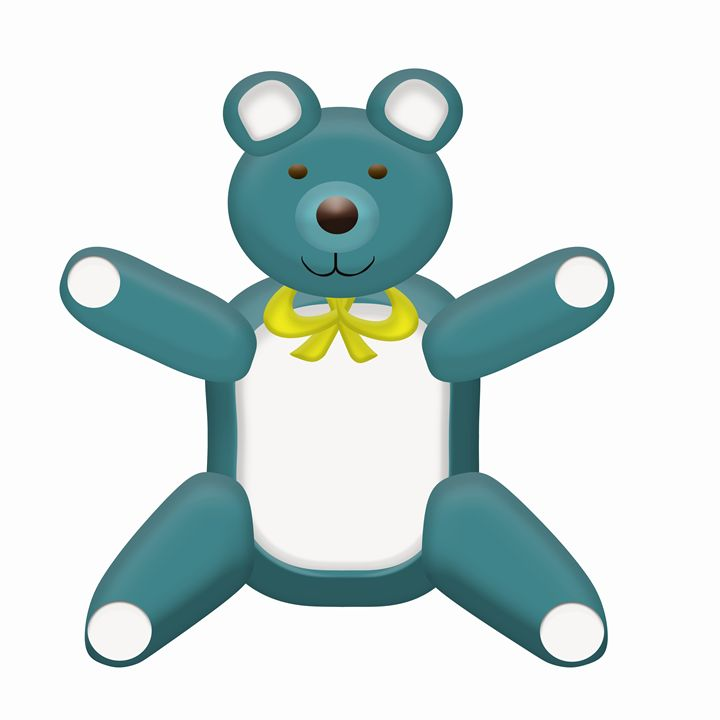 Teal Teddy Bear - Laura Nybeck's Art