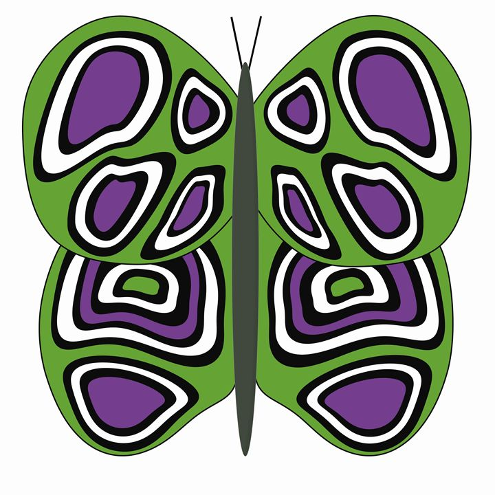 Green, Purple and White Butterfly - Laura Nybeck's Art