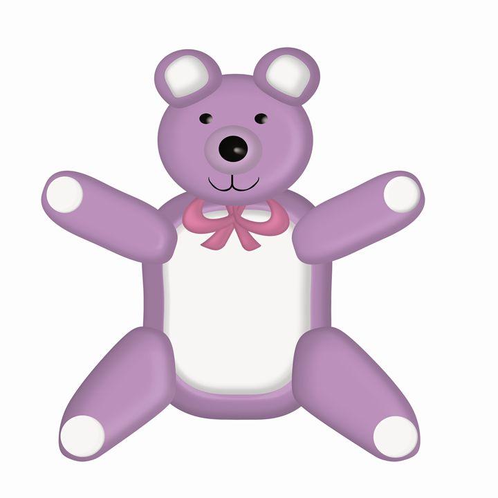 Large Purple Teddy Bear - Laura Nybeck's Art