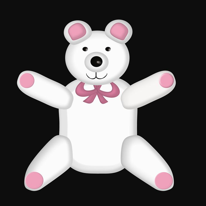 White and Pink Teddy Bear on Black - Laura Nybeck's Art