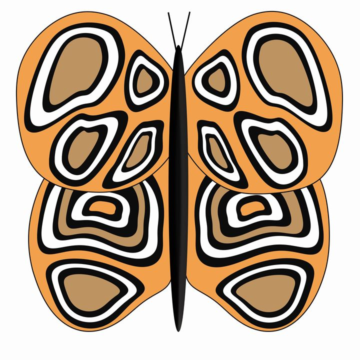 Orange, Tan and White Butterfly - Laura Nybeck's Art