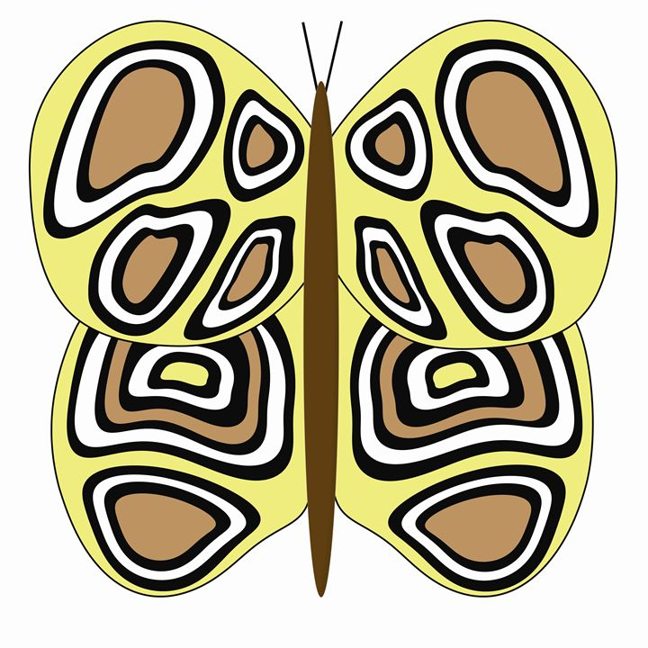 Yellow, Tan and White Butterfly - Laura Nybeck's Art