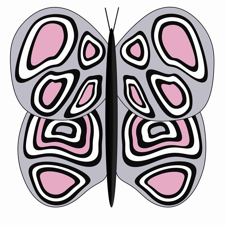 Grey-Pink-White Butterfly on White - Laura Nybeck's Art