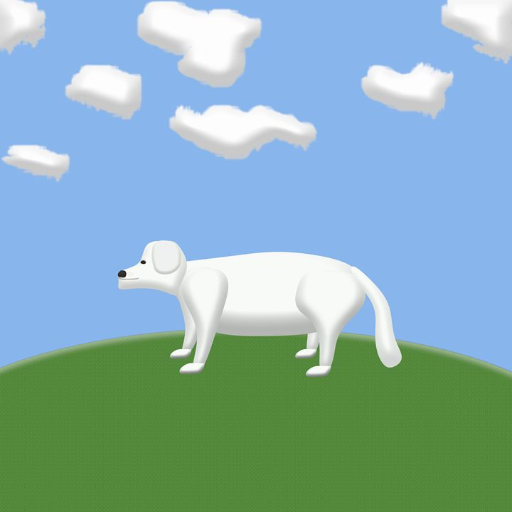 White Dog in Nature - Laura Nybeck's Art
