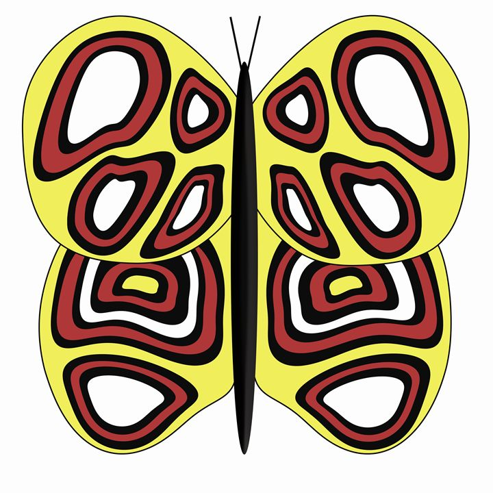 Yellow, White and Red Butterfly - Laura Nybeck's Art