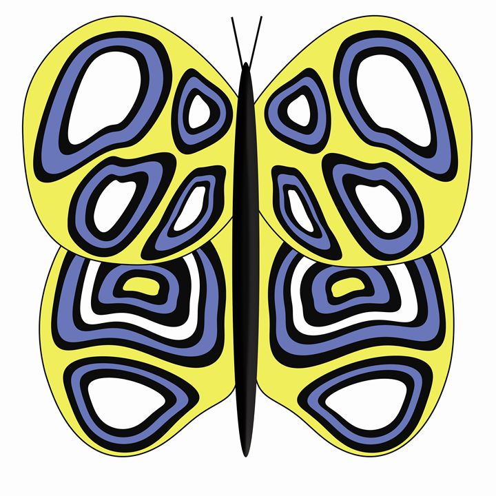 Yellow, White and Blue Butterfly - Laura Nybeck's Art