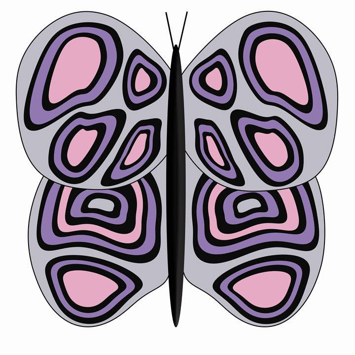 Grey, Pink and Purple Butterfly - Laura Nybeck's Art