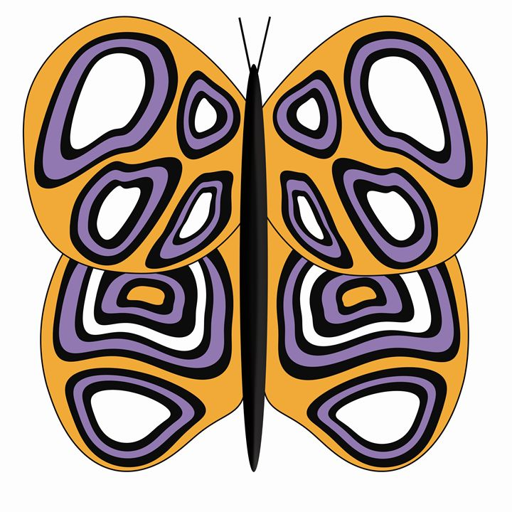 Orange, White and Purple Butterfly - Laura Nybeck's Art