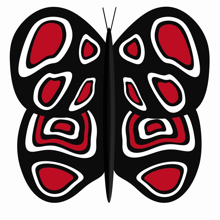 Black-Red-White Butterfly on White - Laura Nybeck's Art