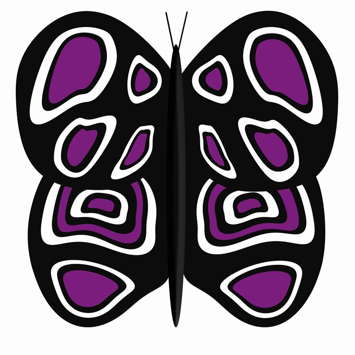 Black-Purple-White Butterfly White - Laura Nybeck's Art