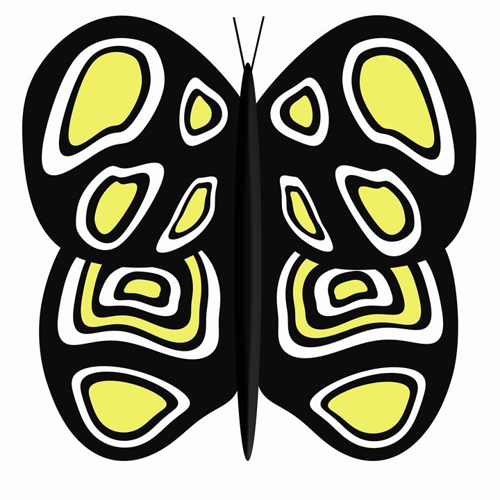 Black-Yellow-White Butterfly White - Laura Nybeck's Art