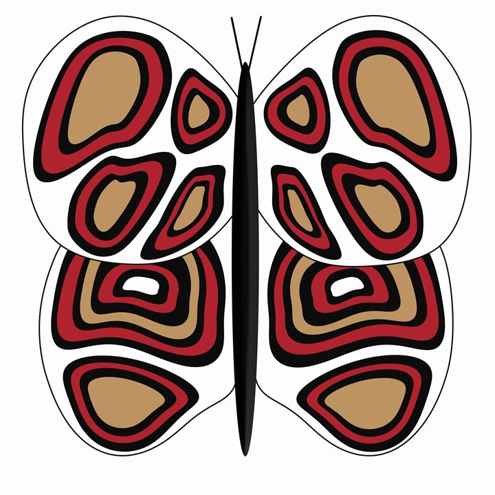 White-Tan-Red Butterfly on White - Laura Nybeck's Art