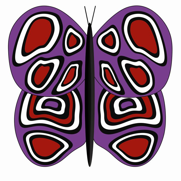 Purple-Red-White Butterfly on White - Laura Nybeck's Art