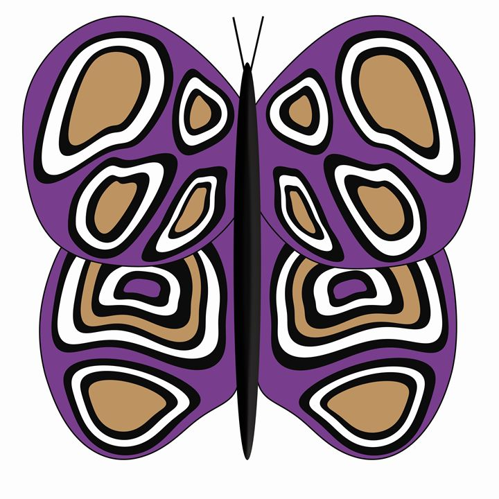Purple-Tan-White butterfly on white - Laura Nybeck's Art