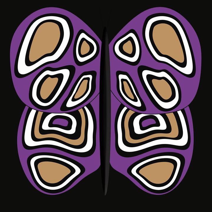 Purple-Tan-White Butterfly on Black - Laura Nybeck's Art
