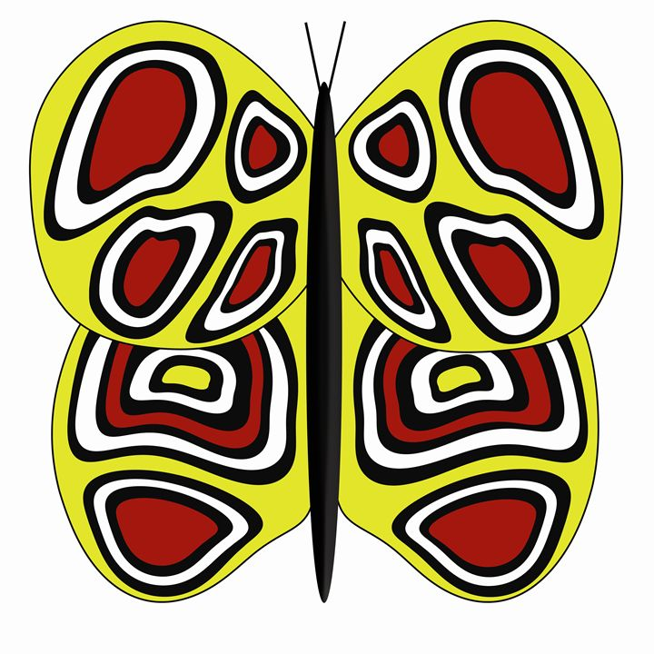 Yellow-Red-White Butterfly on White - Laura Nybeck's Art