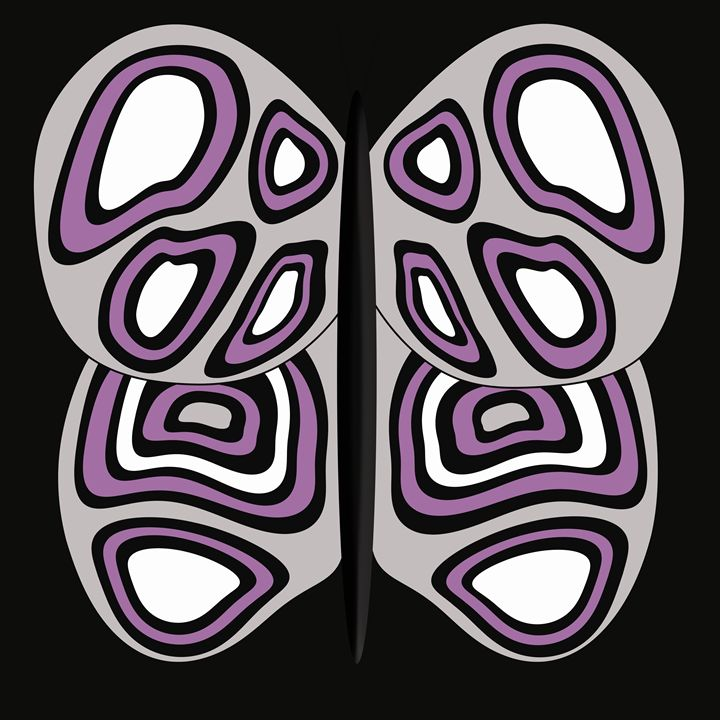 Grey-White-Purple Butterfly on Black - Laura Nybeck's Art