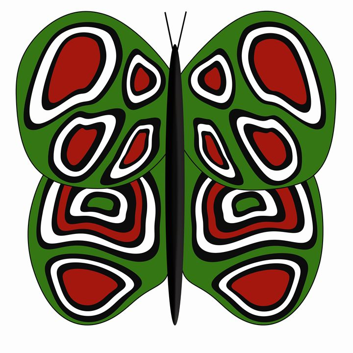 Green-Red-White Butterfly - Laura Nybeck's Art