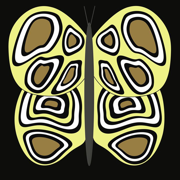Yellow-Tan-White Butterfly on Black - Laura Nybeck's Art