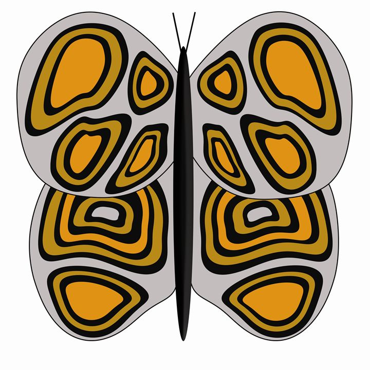 Grey, Orange and Tan Butterfly - Laura Nybeck's Art