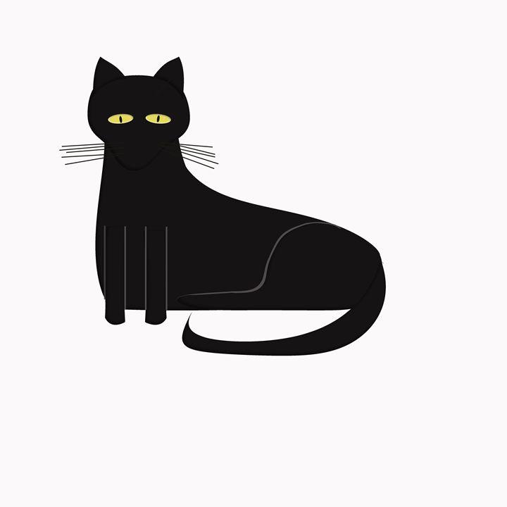 Black Cat on White - Laura Nybeck's Art