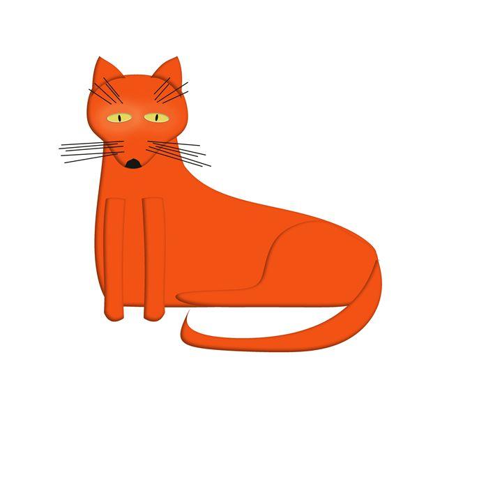 Orange Cat on White - Laura Nybeck's Art