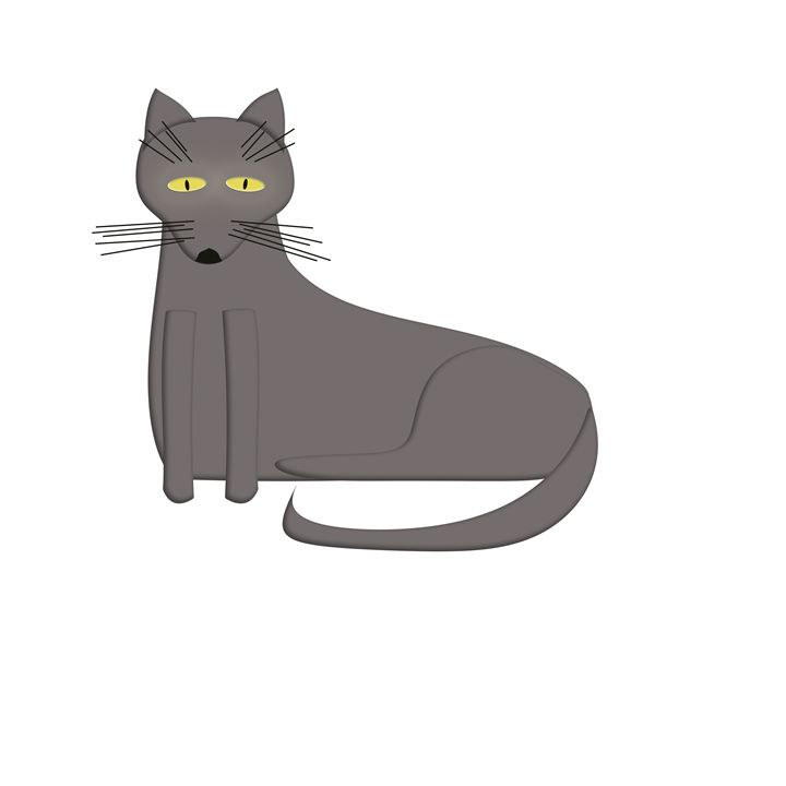 Grey Cat on White - Laura Nybeck's Art