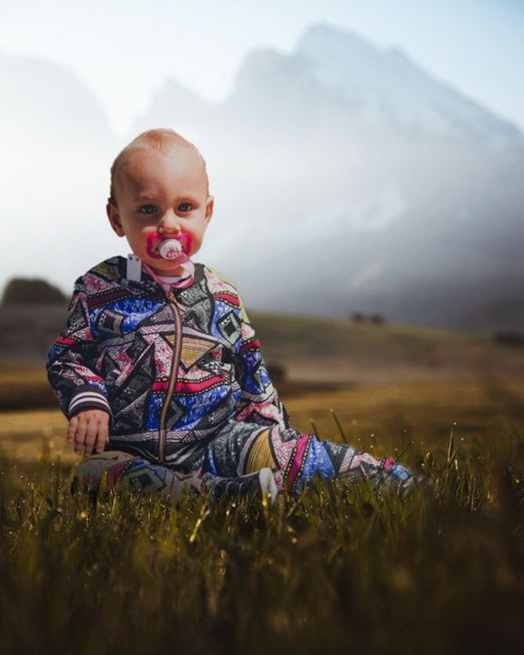 Cute Baby On Moody Grass - paul'sCreation