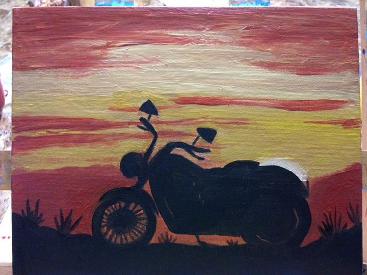 Motorcycle Sunset - Toth's Paintings