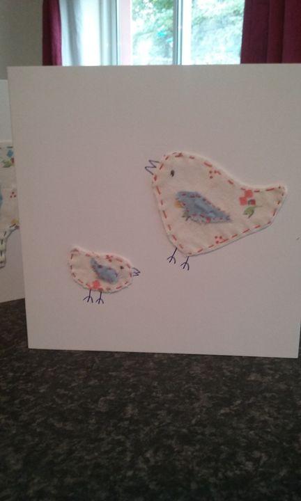 Hand made fabric greeting cards - Philomena s