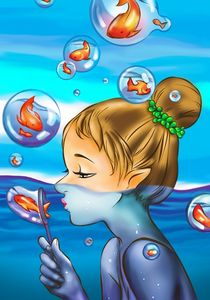 Fish in the bubbles