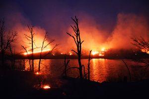 Prairie Burn At Flint Hills Pond - Catherine Sherman