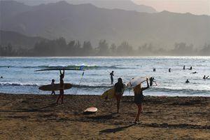 Evening Surfers, Hanalei Bay, Kauai - Catherine Sherman