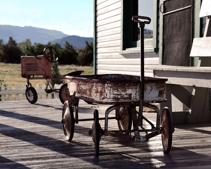 Vintage Toy Wagon and Tractor - Catherine Sherman