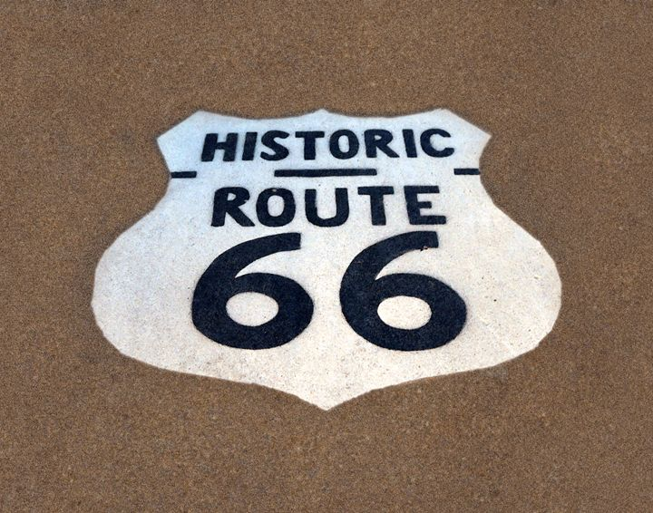 Historic Route 66 Pavement Sign - Catherine Sherman