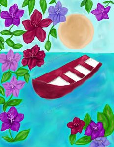 Red Boat Art Print, Scenery Art