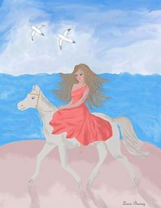 Girly Beach Horseback Art Print
